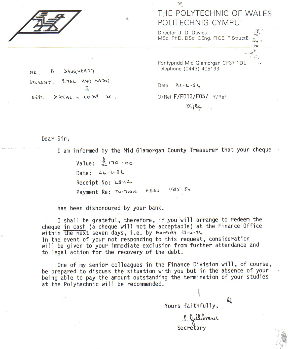 Letter from the Polytechnic of Wales