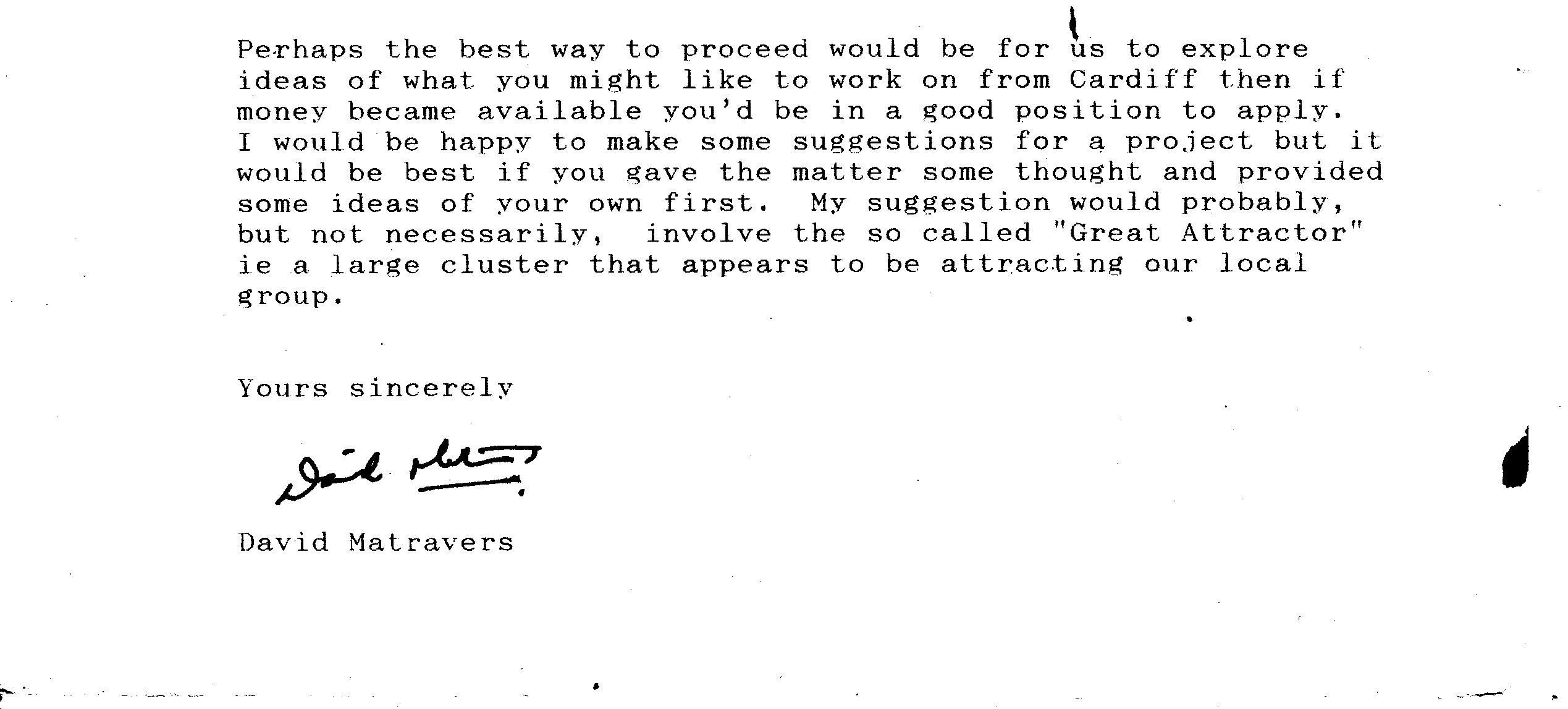 Letter from Matravers, Portsmouth Polytechnic