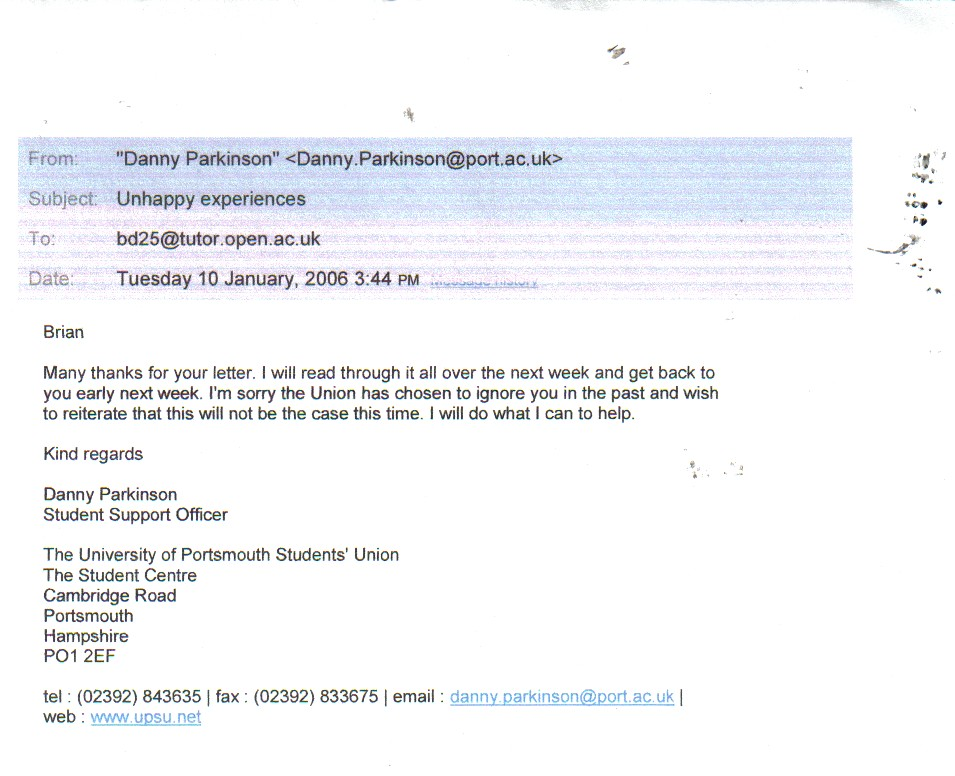 Email from Parkinson, Portsmouth Polytechnic Students Union